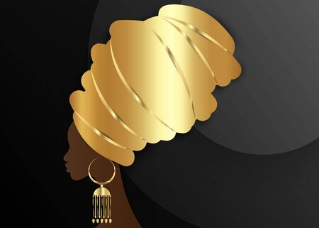 portrait beautiful African woman in traditional turban, Gold Kente head wrap African, Traditional dashiki and golden ethnic earring, black afro women vector silhouette isolated on black background