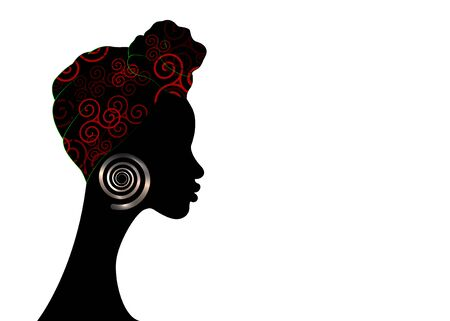 portrait beautiful Afro woman. Shenbolen Ankara Headwrap Women African Traditional Headtie Scarf Turban. Kente head wraps African tribal fabric design. Vector copy space template brochure background