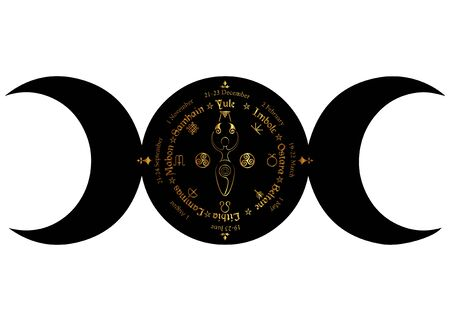 black triple moon Wicca pagan goddess, wheel of the Year is an annual cycle of seasonal festivals. Wiccan calendar holidays. Compass with spiral goddess of fertility, names in Celtic of the Solstices Vector Illustration