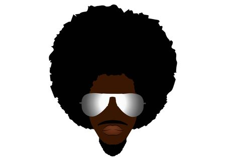 black man portrait with afro man curly design and sunglasses. Barber shop, hairstyle. Healthy sporty young black man with beard, mustache and sideburns. Isolated avatar of rapper on white background Ilustração