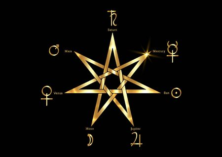 Planetary Ritual of the gold Heptagram, vector isolated on black background. Seven point star or septa-gram, hepta-gram magical symbol mystic sign. Golden Witches runes, wicca divination symbols