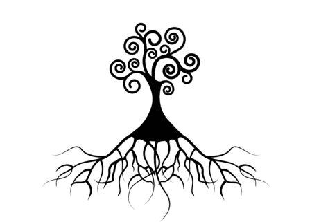 Tree of life, Tree natural logo and black tree ecology illustration symbol icon vector design isolated on white background