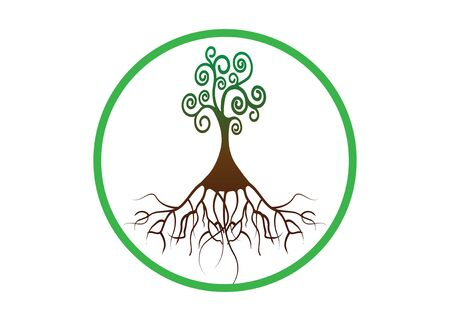 Tree of life, Tree natural round logo and green tree ecology illustration symbol icon vector design isolated on white background. Bio natural ethics concept Illustration