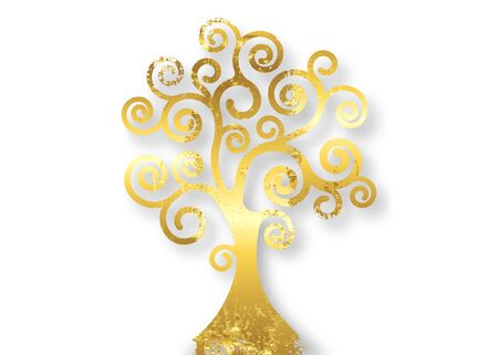 Tree of life, Tree natural logo and golden tree ecology illustration symbol icon vector design isolated on white background. Gold leaf wooden Bio natural ethics concept, abstract blossoming swirl tree