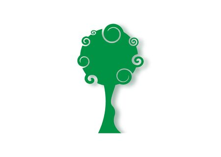 Tree Education Design, original green tree curly style, eco and bio badge, abstract organic design element vector label illustration isolated on white background