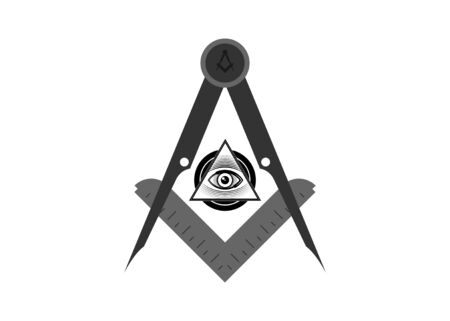 Freemasonry emblem - the masonic square and compass symbol. All seeing eye of god in sacred geometry triangle, masonry and illuminati symbol, emblem design element. Vector isolated on white Çizim