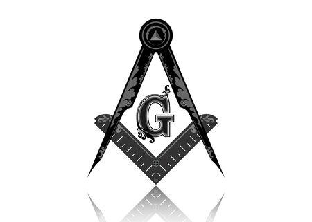 Freemasonry emblem - the masonic square and compass symbol. All seeing eye of god in sacred geometry triangle, masonry and illuminati symbol, design element. Round vector isolated on white