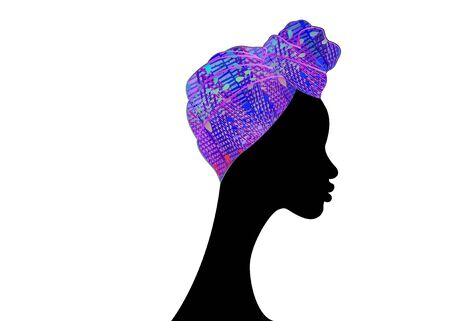 portrait beautiful Afro woman. Shenbolen Ankara Headwrap Women African Traditional Headtie Scarf Turban. Colorful Kente head wraps African fabric design. Vector icon isolated white background
