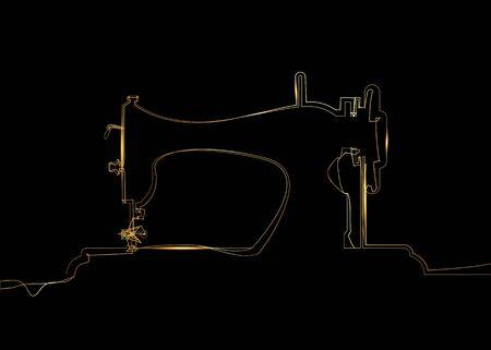 Marchio di vettore del sarto. Modello di logo di macchina per cucire disegno a tratteggio nero singolo oro. Marchio di moda. Icona della siluetta della macchina da cucire del disegno a mano libera di linea continua dorata isolata su fondo nero