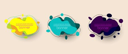 Modern set of abstract banners. Vector bright template banners. Colorful amorphous design template ready for use in web or print design. Isolated on vintage background  イラスト・ベクター素材