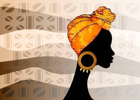 portrait beautiful Afro woman. Shenbolen Ankara Headwrap Women African Traditional Headtie Scarf Turban. Colorful Kente head wraps African fabric design, old texture. Vector ethnic batik background
