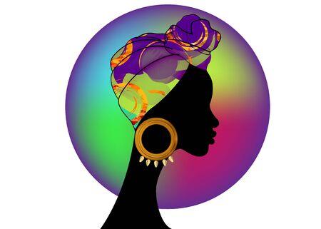 portrait beautiful Afro woman. Shenbolen Ankara Headwrap Women African Traditional Headtie Scarf Turban. Colorful Kente head wraps African fabric design abstract texture. Vector icon logo isolated