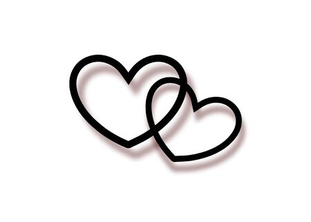 Marriage rings icon. Logo Two interlocking hearts for print and web, isolated on transparent or white background. Minimalist vector illustration happy valentines day concept