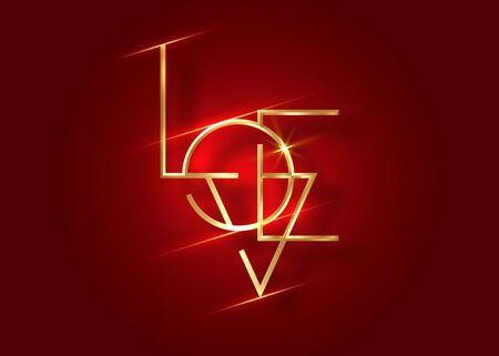 Love logo icon, gold Love minimalist text Valentines symbol. Luxury retro golden line style vector illustration isolated on dark red background. Happy valentines day concept  イラスト・ベクター素材