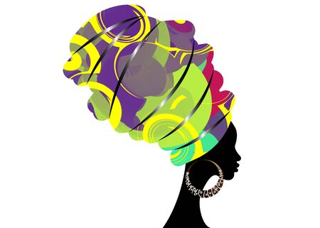 portrait beautiful African woman in traditional turban, kente head wrap African, Traditional dashiki printing, black women silhouette isolated with traditional earrings, hairstyle concept