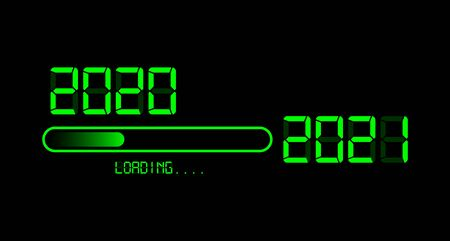 Happy new year 2020 with loading to up 2021. Green led neon digital time style. Progress bar almost reaching new years eve. Vector illustration with display 2021 loading isolated or black background