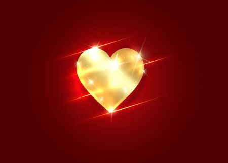 Gold shiny heart icon. Isolated golden heart on a dark red banner. Happy Valentines day greeting card template, concept of precious jewelry. Premium luxury Vector isolated on red background  イラスト・ベクター素材