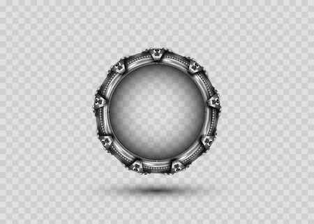 3D portal gate concept alien construction isolated on transparent background. Spatial entrance time machine