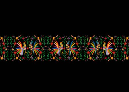 Mexican print Traditional Textile Embroidery Style from Mexico. Template Floral Composition with Birds, roosters and Peacocks, colorful seamless jungle frame composition isolated or black background