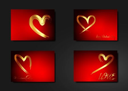 Set golden Hearts vector, hand drawn icon gold brush stroke style. Trendy heart isolated on red background. Useful for web site, greeting card and Valentines day. Creative art sketch with copy space