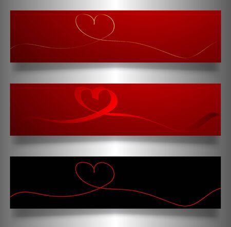 set valentines banners, continuous line drawing of heart, set of red hearts, vector minimalist illustration of love concept made of one line