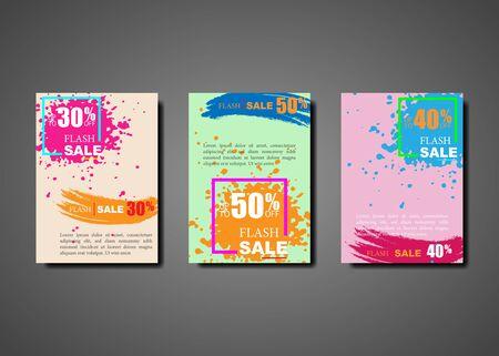 Dynamic modern splash brochures for flash sale banners. Sale colorful brush stroke banner template design, Flash sale special offer set. Vector illustration bright colors background