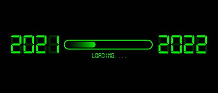 Happy new year 2021 with loading to up 2022. Green led neon digital time style. Progress bar almost reaching new years eve. Vector illustration with display 2022 loading isolated or black background