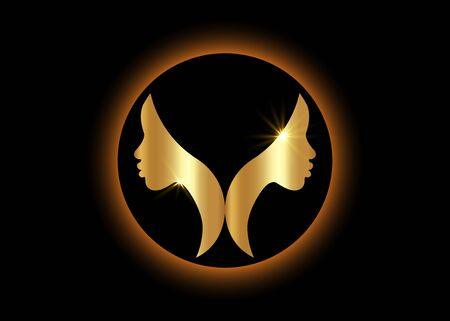 gold logo round design African american woman face profile. Golden Women profile silhouette on the black background. Vector illustration isolated  イラスト・ベクター素材