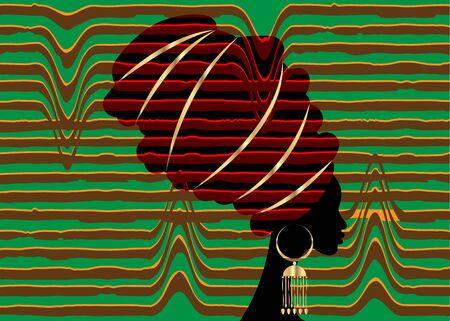 African scarf, portrait Afro woman in a striped turban. Tribal Wrap fashion, Ankara, Kente, kitenge. Nigerian style dresses. Ghanaian headwrap. African Print fabric, Ethnic handmade textile background  イラスト・ベクター素材