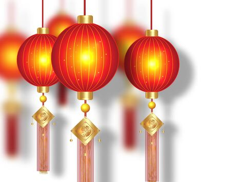 Chinese red lanterns, luxury gold decorative elements. Traditional light festival Asian New Year, Chinese Happy New Year, isolated on white background. Design of holiday greeting card, oriental banner  イラスト・ベクター素材