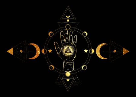 third eye and hand esoteric spiritual icon. Sacred pyramid of knowledge, an all-seeing eye. Mystical geometry, signs of the moon phases. Gold masonic symbol eye inside triple moon, isolated on black