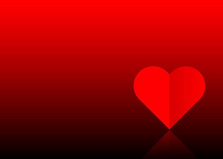 Valentines day red banner, one red paper cut heart. Valentine concept, in the mood for love, vector isolated or dark red background