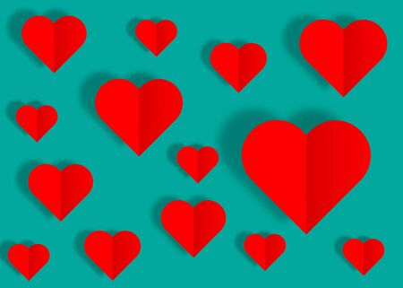 Valentines day or Mothers day, vintage banner origami paper cut red hearts. Valentine concept, in the mood for love, vector isolated or retro vintage color background  イラスト・ベクター素材