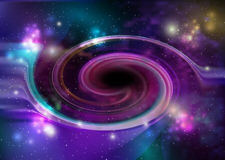 Black hole, vector spiral galaxy space. Star field in space and a nebulae. Abstract background of universe and a gas congestion. Stars, dust and gas nebula in a far galaxy