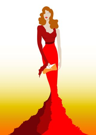 Fashion model in red beauty dress, woman posing evening gown. Shop logo silhouette diva beautiful luxury cover girl retro woman styling evening dress 1940s, 1950s, template vector isolated Logó
