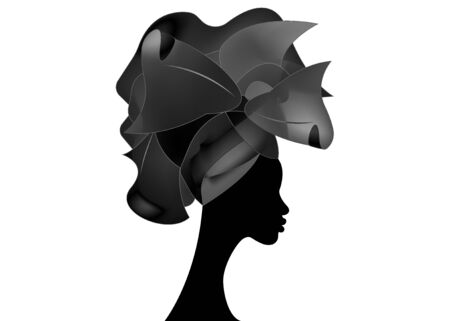 African wedding hairstyle Head wrap, black head scarf of satin, beautiful portrait Afro Woman in Traditional Head tie Scarf Turban. Vector isolated on white background Standard-Bild - 137531846
