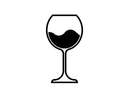 Wine Glass Icon, Wineglass logo, Glassware Icon Vector Art Illustration isolated or white background