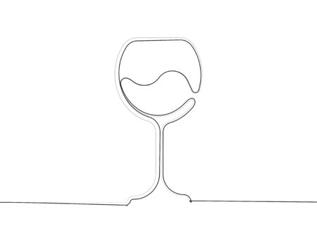 Wine Glass Icon in single line drawing, Wineglass logo, Glassware label sig continuous line. Vector Art Illustration isolated or white background