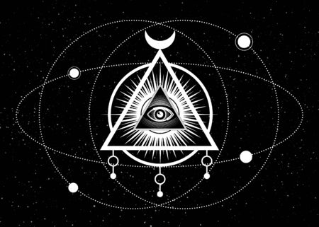 Mystical drawing, All-seeing eye, orbits of planets, energy circle. Sacred geometry. Alchemy, magic, esoteric, occultism. Background black star sky. Vector illustration. Print, poster, T-shirt, card