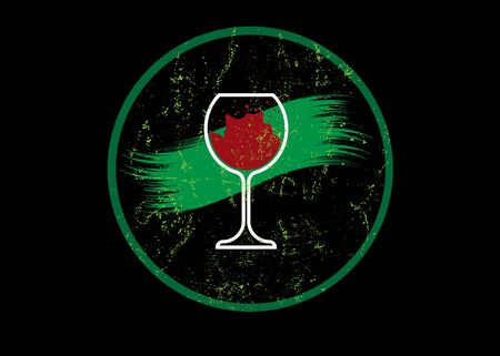Biological wine concept, Organic Red Wine Glass Icon, biodynamic cultivation, Wineglass logo, Glassware vintage round symbol Icon. Vintage vector Art Illustration isolated or black background
