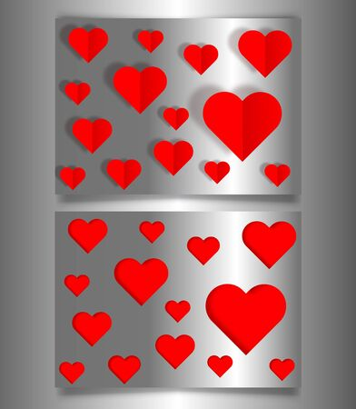 Set Valentines day or Mothers day banners, silver metallic card laser cutting style and paper cut red hearts. Valentine concept, vector illustration background