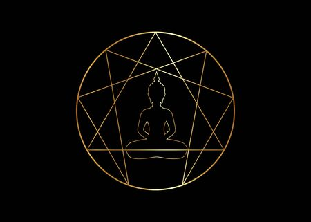 Enneagram yoga design for infographics and business. Gold Enneagram icon, sacred geometry, with a meditating buddha silhouette in the middle, vector illustration isolated on black background