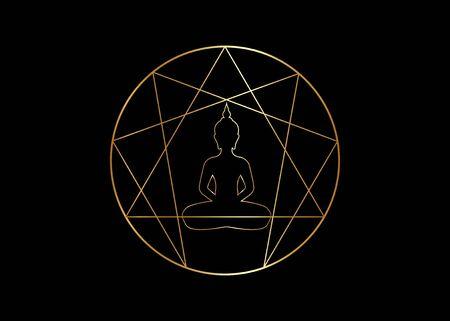 Enneagramm-Yoga-Design für Infografiken und Business. Goldenes Enneagramm-Symbol, heilige Geometrie, mit einer meditierenden Buddha-Silhouette in der Mitte, Vektorillustration einzeln auf schwarzem Hintergrund