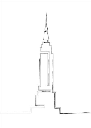 Continuous line drawing. Building Cityscape Line Art Silhouette. Single line sketch Empire State Building in New York City line art vector icon for apps, websites. Vector isolated on white background Illustration