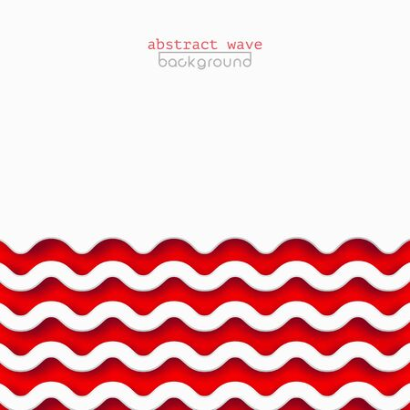 Abstract red waves background for design. Vector marine wallpaper concept, wave pattern texture. Square banner with copy space for text, paper cut style