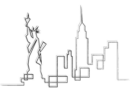 One line sketch style New York city skyline. Simple modern minimalistic style vector isolated on white background