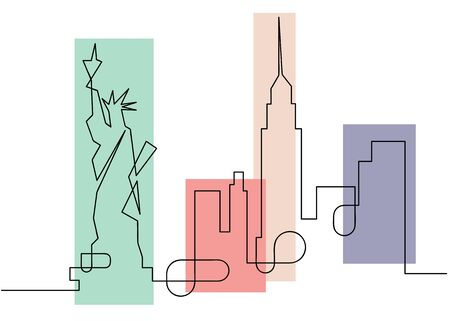 One line sketch style New York city skyline, flat design. Simple colorful modern minimalistic style vector isolated on white background