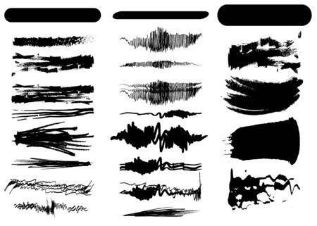 Set of black vector brush strokes  イラスト・ベクター素材