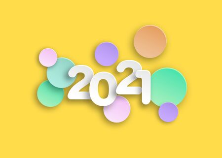 New year 2021 paper cut numbers in delicate colors. Decorative greeting card 2021 happy new year. Colorful Christmas banner, vector illustration isolated on yellow background