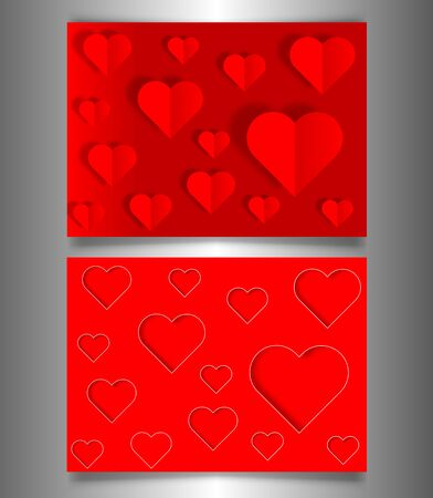 Set Valentines day or Mothers day banners, bright red cards laser cutting style and paper cut red hearts. Valentine concept, vector illustration background  イラスト・ベクター素材